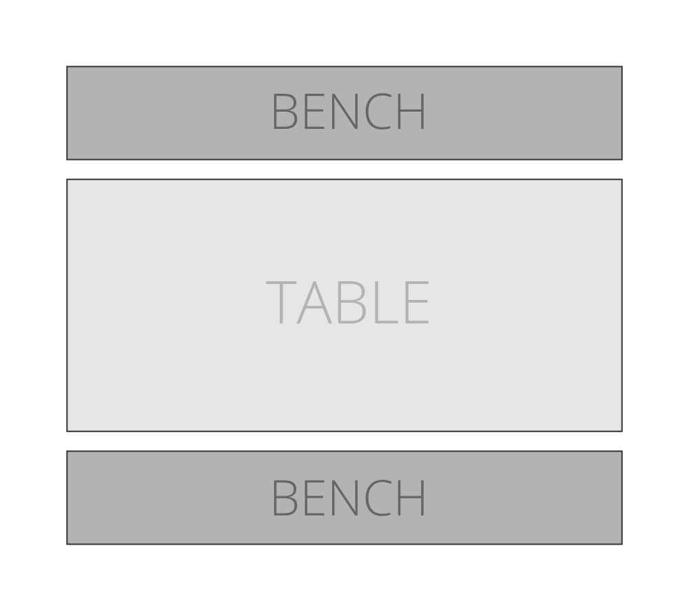 Example of how a full length dining bench should it alongside your dining table