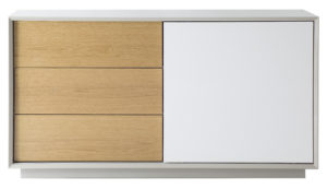 Glide Sideboard in Grey Gloss with White and Oak