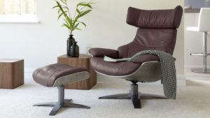 Karma Occasional Chair and footstool in Heather Leather
