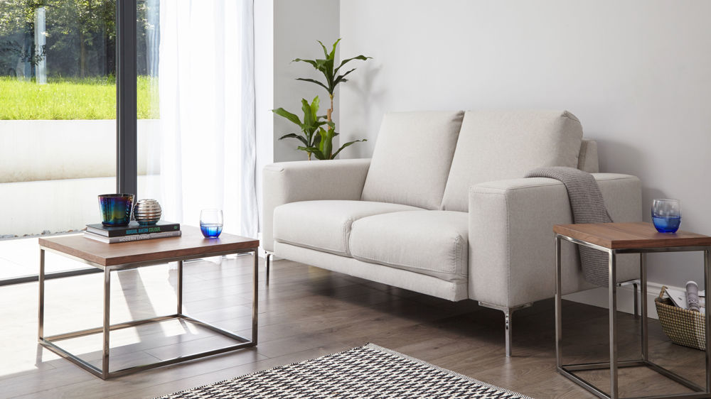 Studio 2 Seater Fabric Sofa styled alongside the Acute walnut square coffee table and side table.