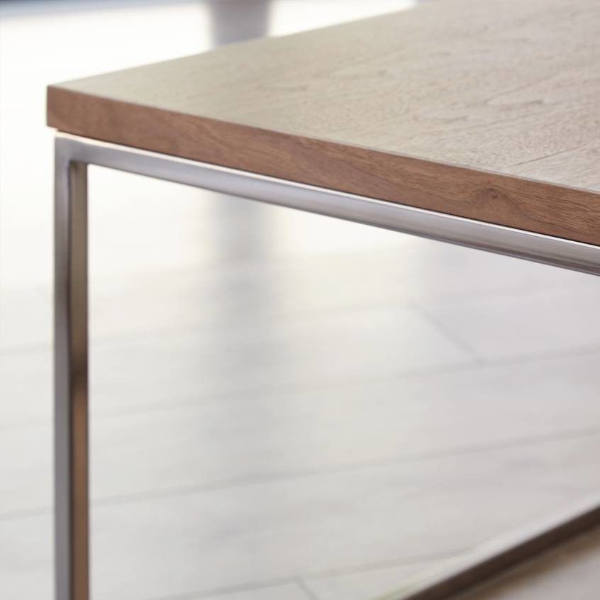 Acute Walnut and Black Chrome Square Coffee Table