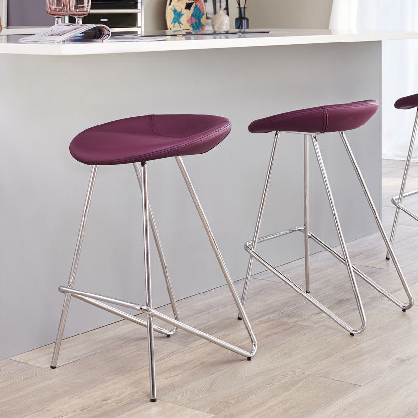 Anzio Fixed Height Bar Stool in Mulberry Purple