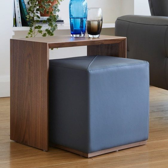 Duo Walnut Side Table and Graphite Grey Stool Set