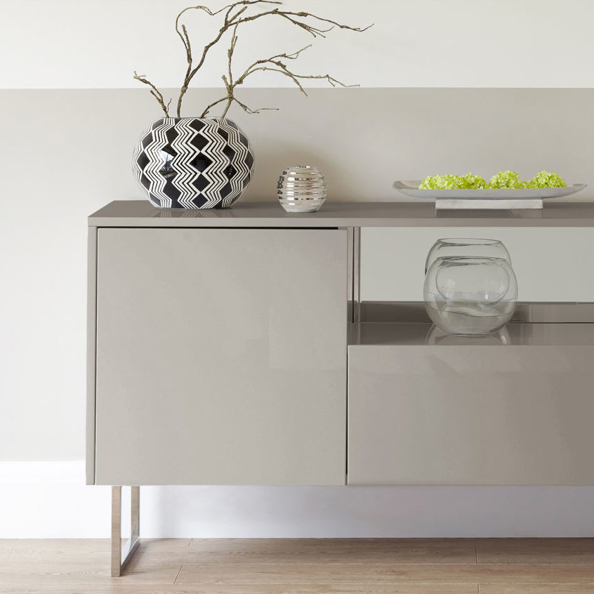 Reflect Grey Gloss and Chrome Sideboard