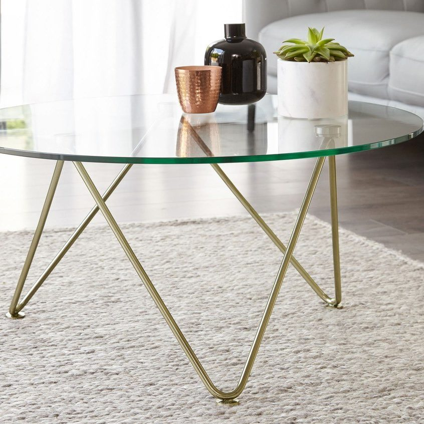 Round Glass And Gold Coffee Table Living Room Uk