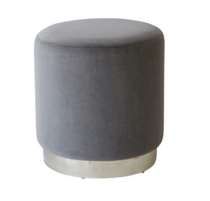 Plaza Grey Velvet Stool