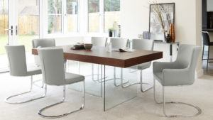 Aria Walnut 6-8 Seater Dining Table