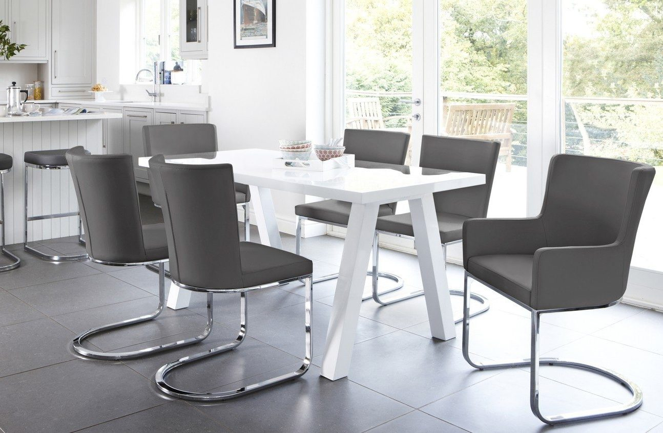 Zen and Form 6 Seater White Gloss Dining Set with coordinating Form Chrome Bar stool