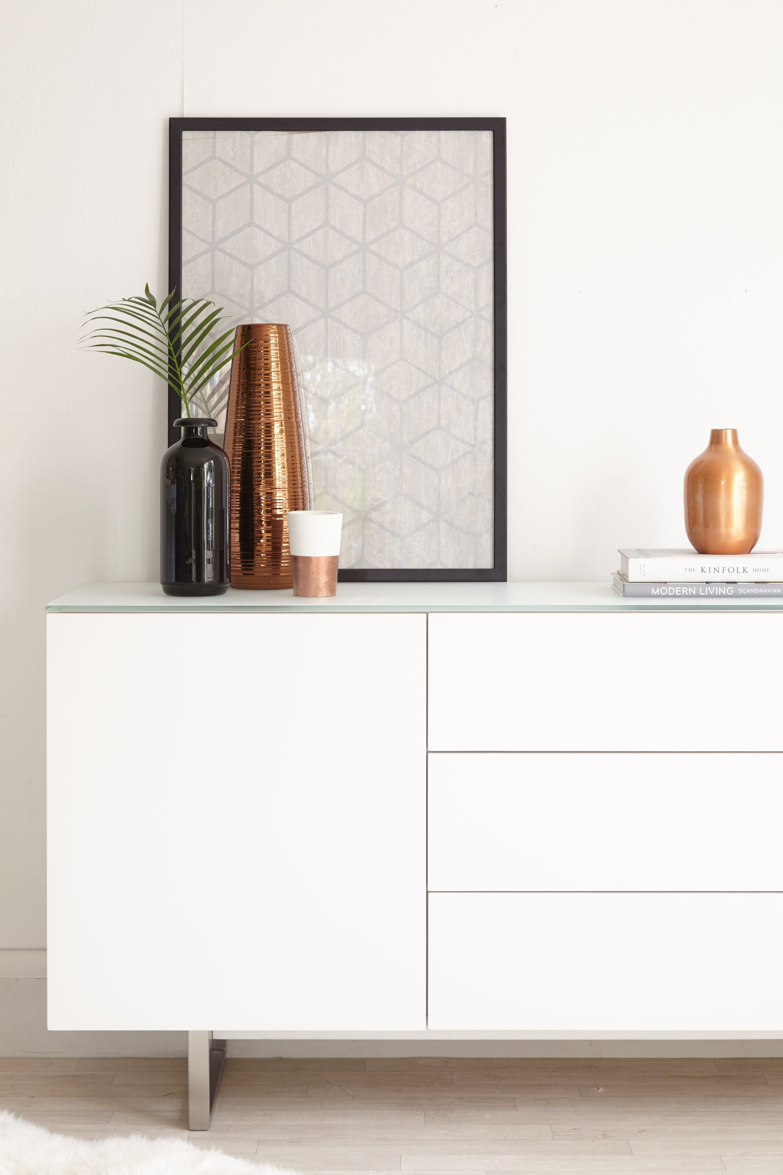 Eve Frosted White Glass and Matt White Sideboard
