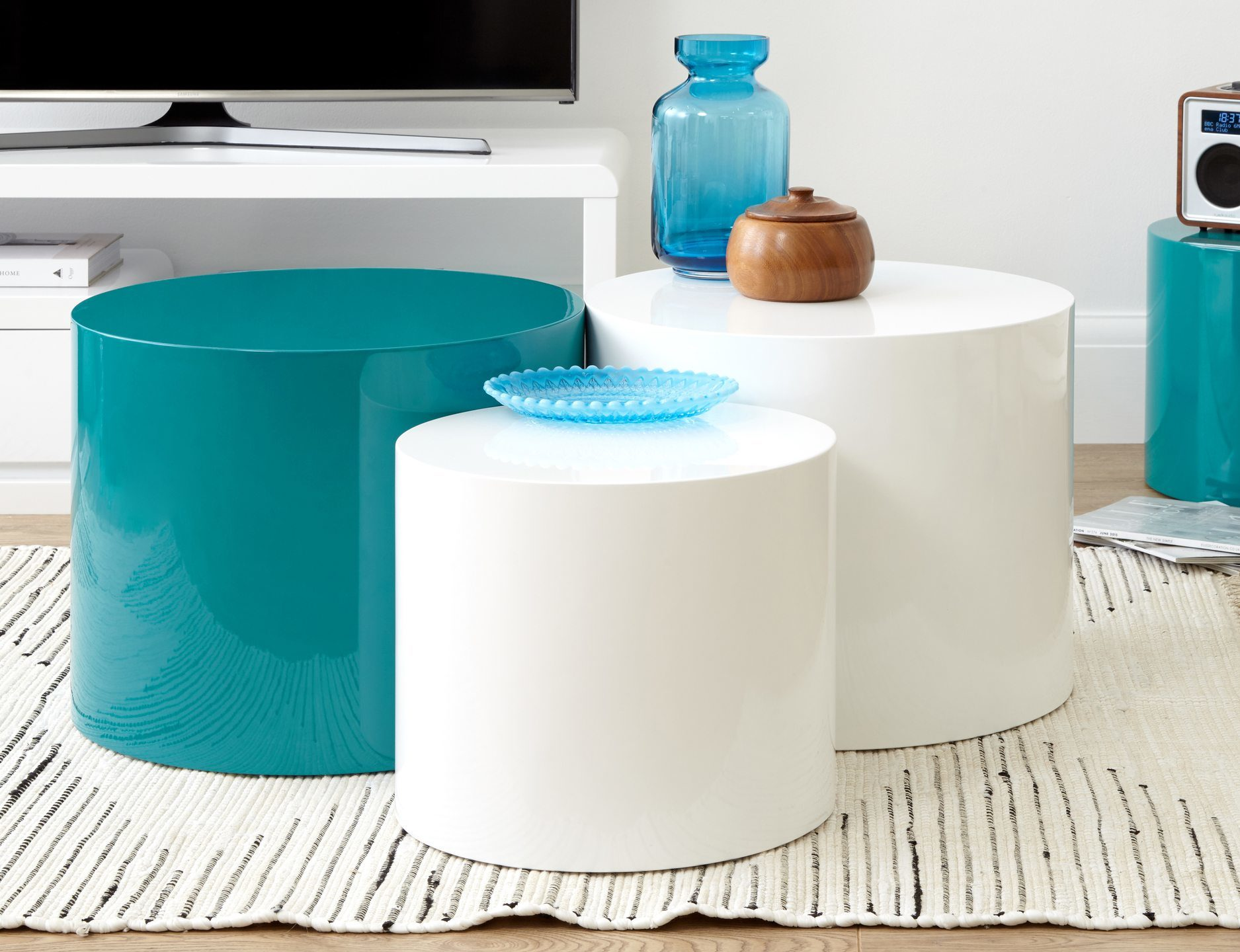 Pebble White Gloss and Teal Gloss Side Tables