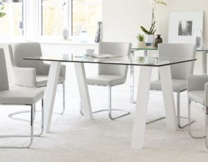 Glass and White Gloss Zen 6 Seater Dining Table