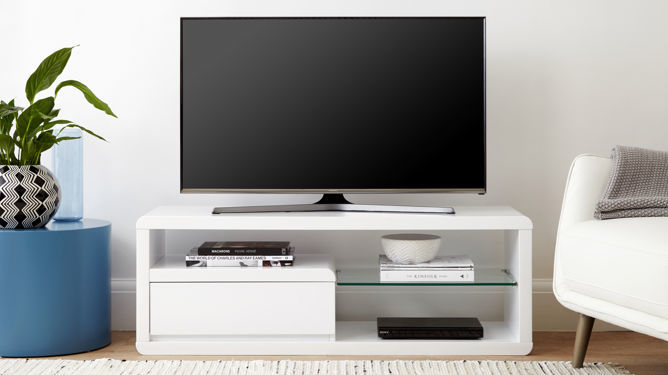 Alessia Compact White Gloss TV Table