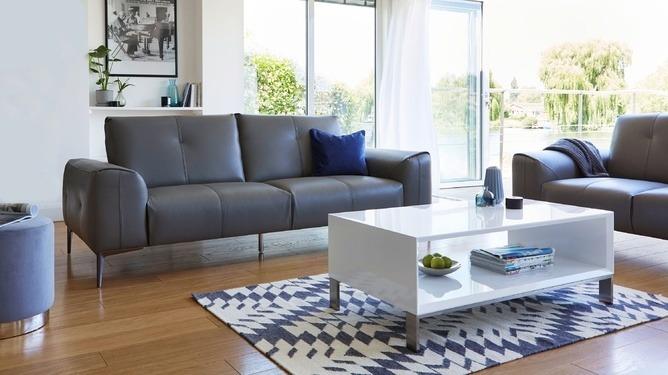 Dillon 2 Seater Leather Sofa, Halo White Gloss Coffee Table Plaza Silver Grey Velvet Stool