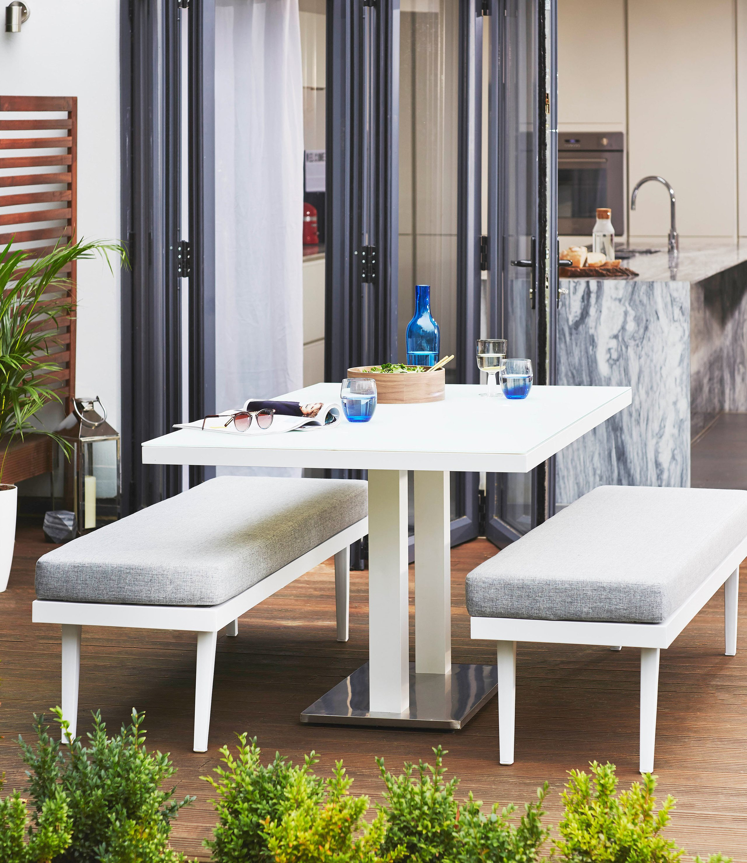 Palermo White 6 Seater Pedestal Outdoor Dining Table & Palermo White 3 Seater Garden Bench