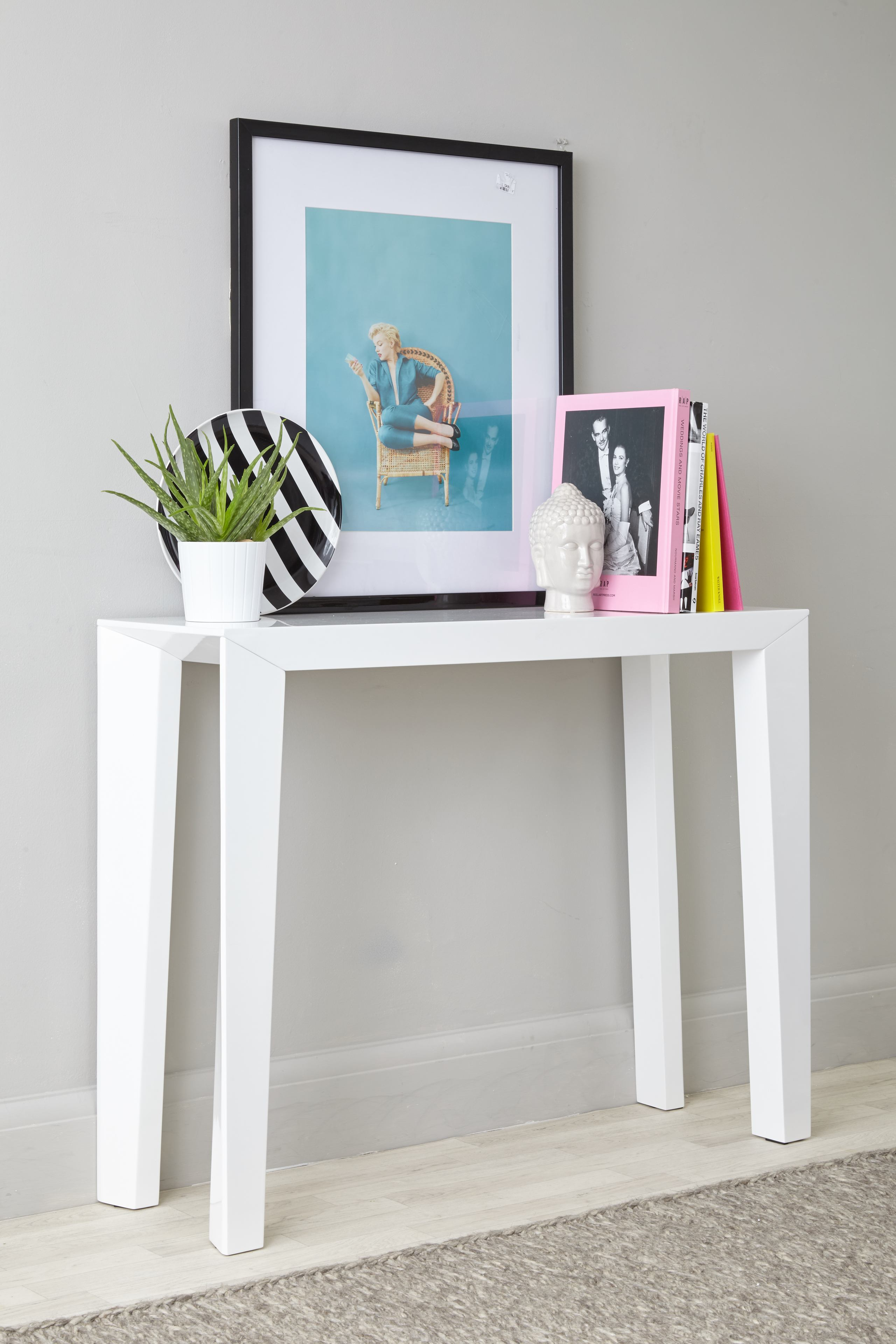 Salerno White Gloss Console Table