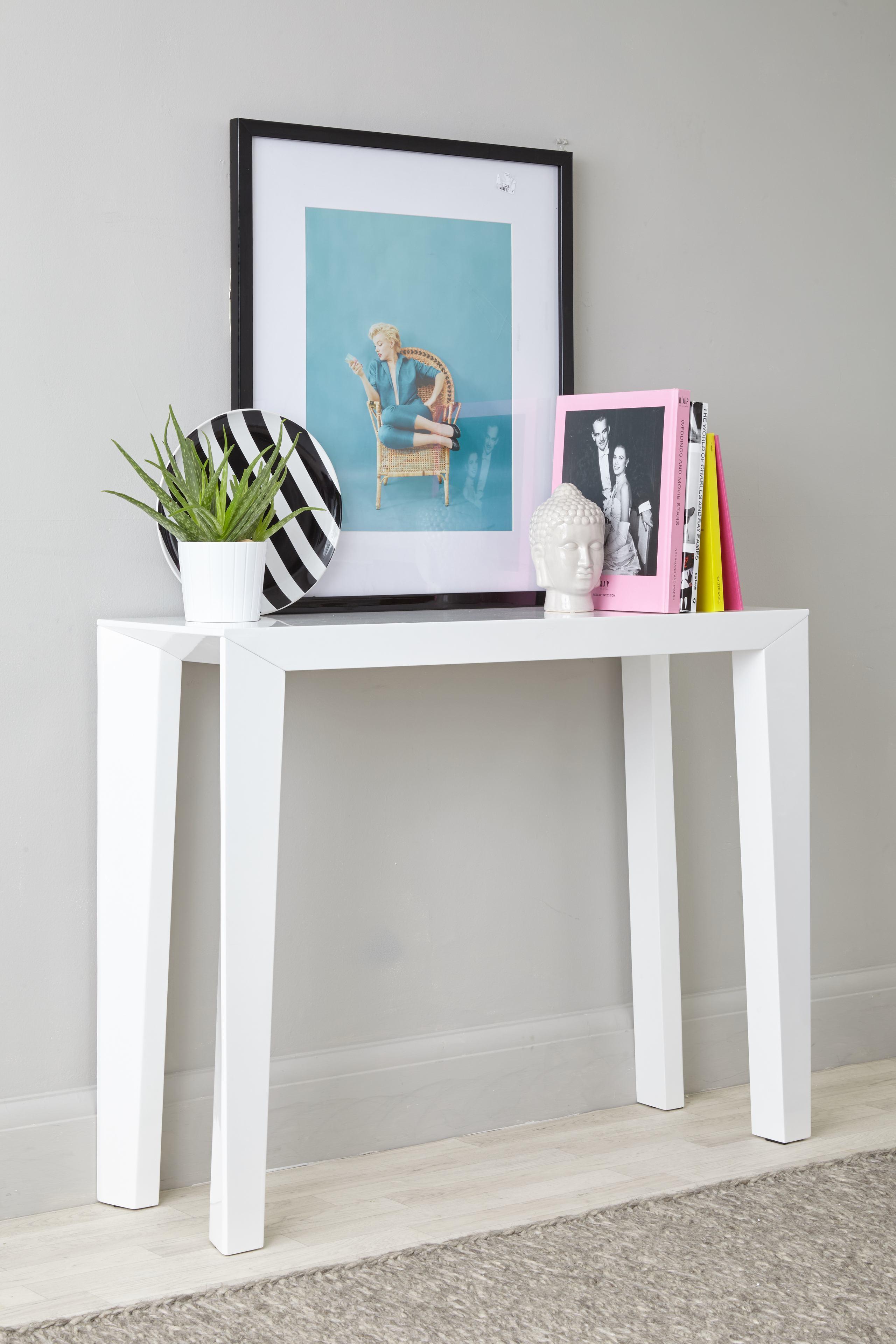 Salerno White Gloss Console Table