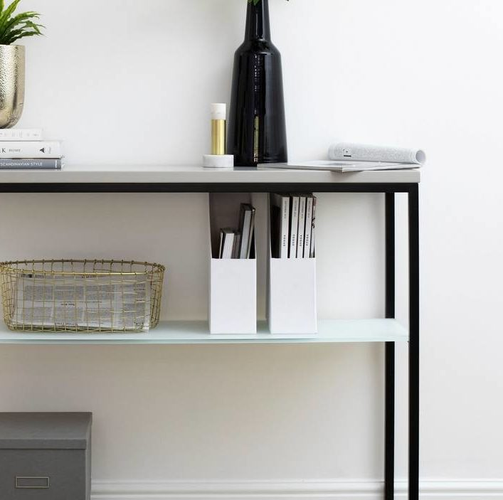 Acute Matt Grey and Black Console Table