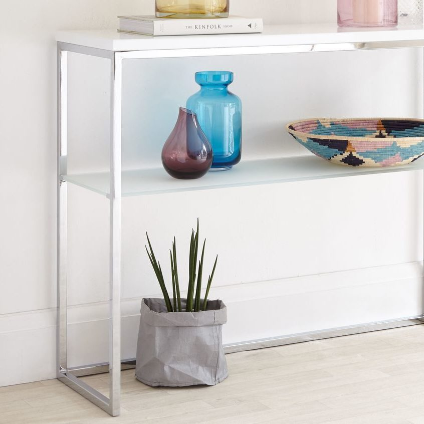 Acute White Gloss and Chrome Console Table