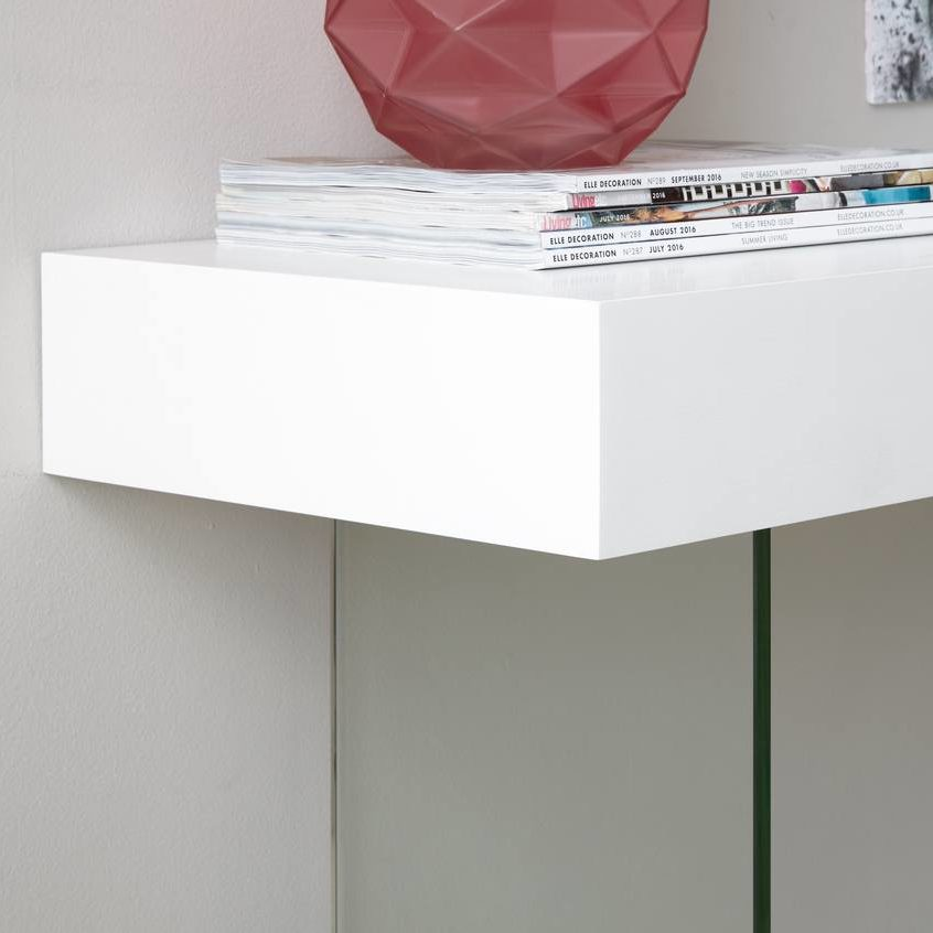 Calana White Oak and Glass Console Table