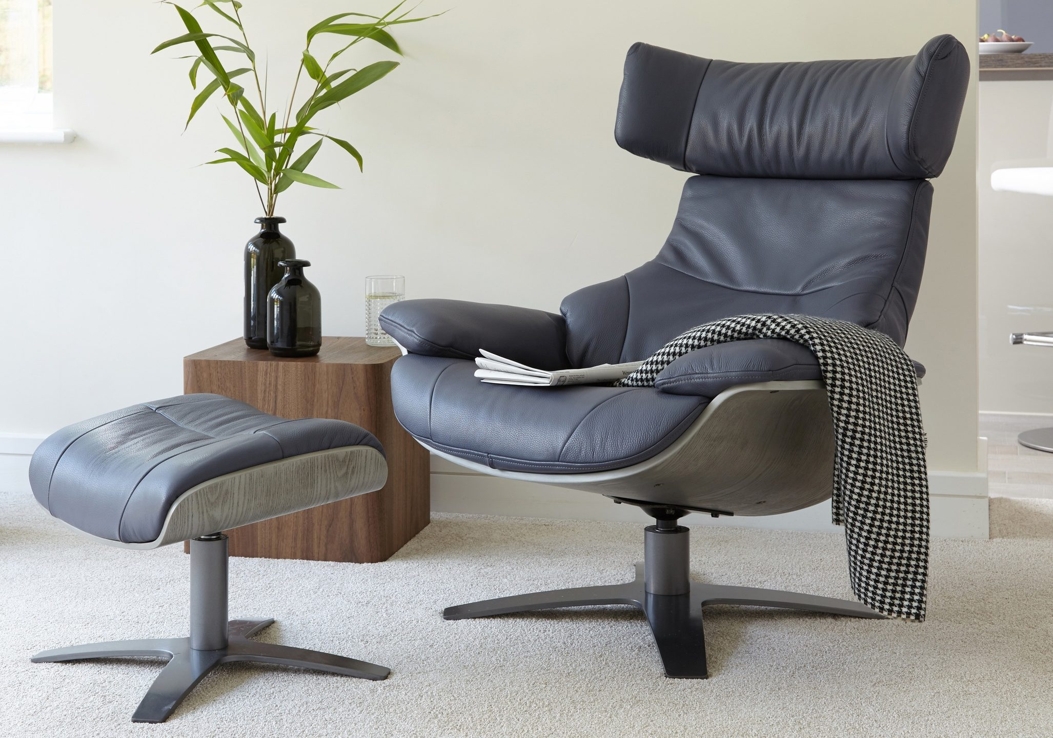 Karma Leather Reclining Armchair and Footstool