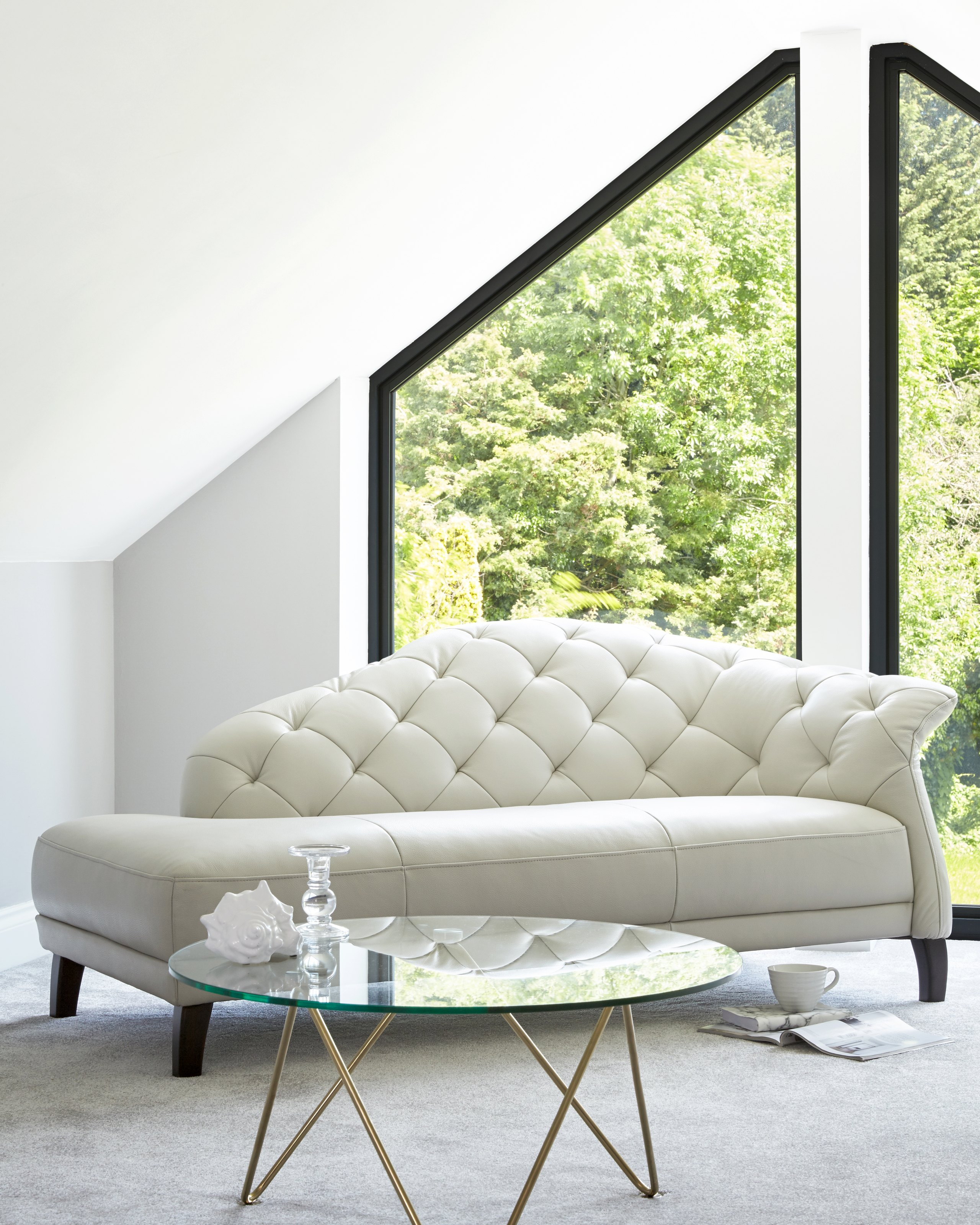 Luxe Modern Leather Chaise Lounge