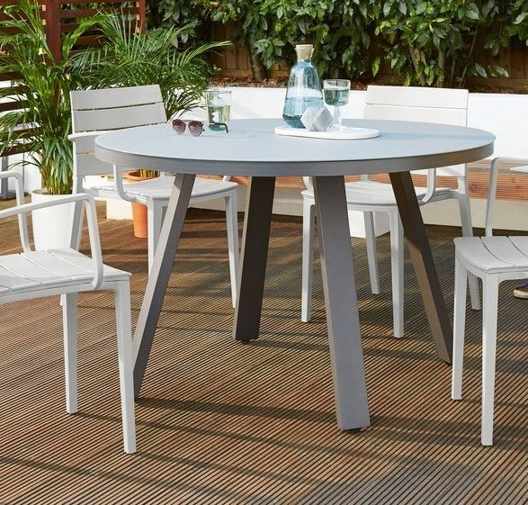 Koko Round Garden Table and Edie Armchair Dining Set
