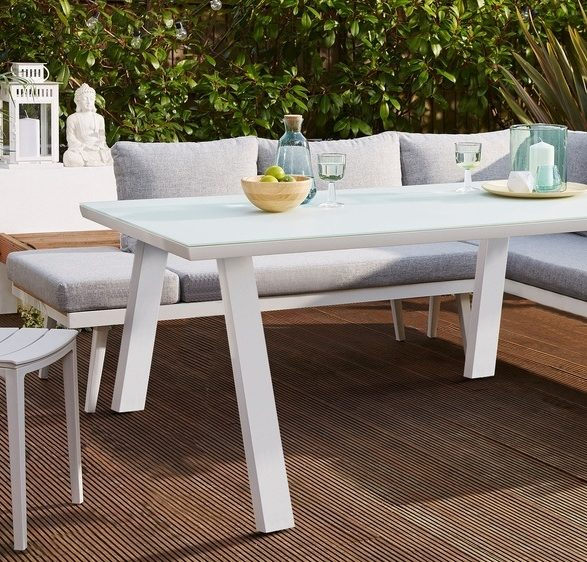 Fresco White 6 Seater Trestle Garden Dining Table
