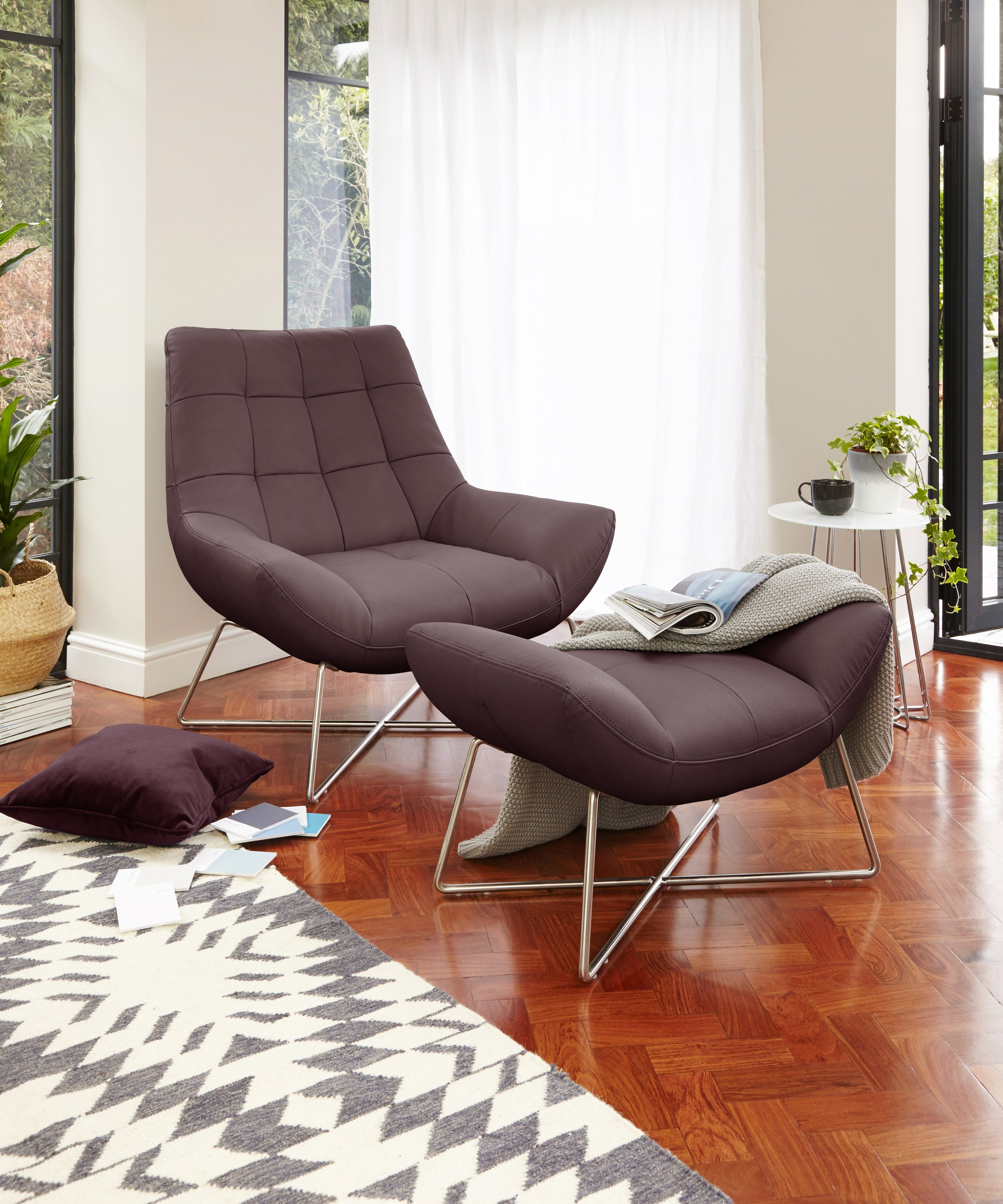 Canio Leather Armchair and Footstool