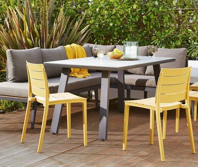 Edie Garden Armchair, Fesco Table and Palermo Corner Bench