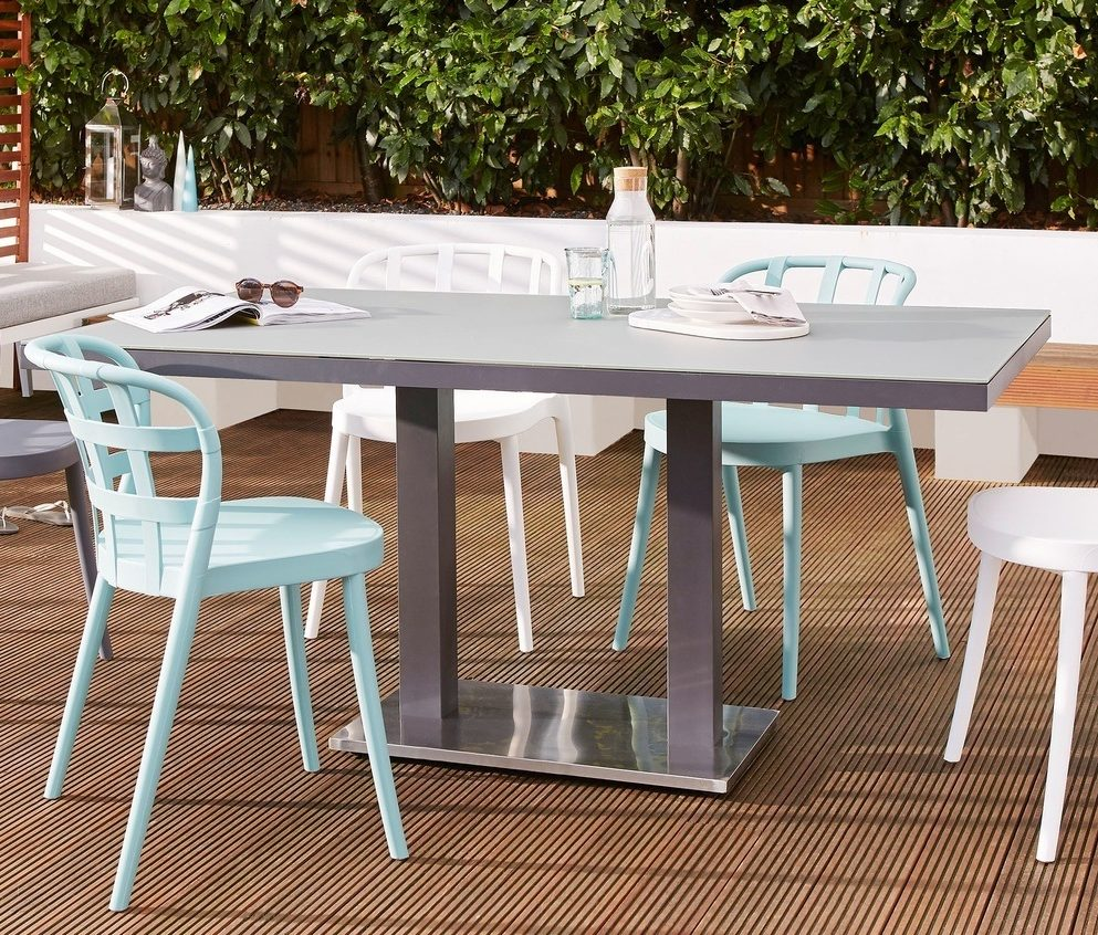 Palermo Pedestal Grey Dining Table and Skye Dining Chair Set