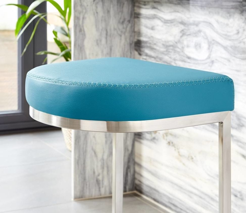 Form Stainless Steel Cantilever Bar Stool in Teal