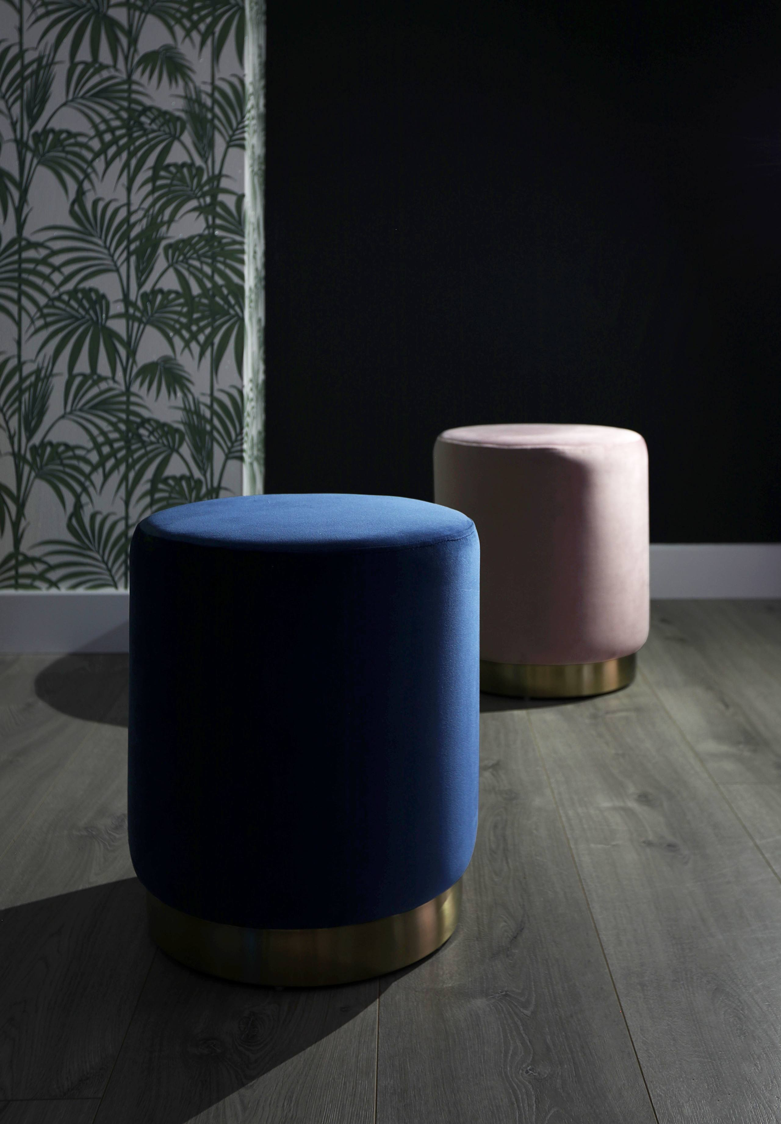 Plaza Sapphire Blue Velvet Stool and Plaza Blush Velvet Stool