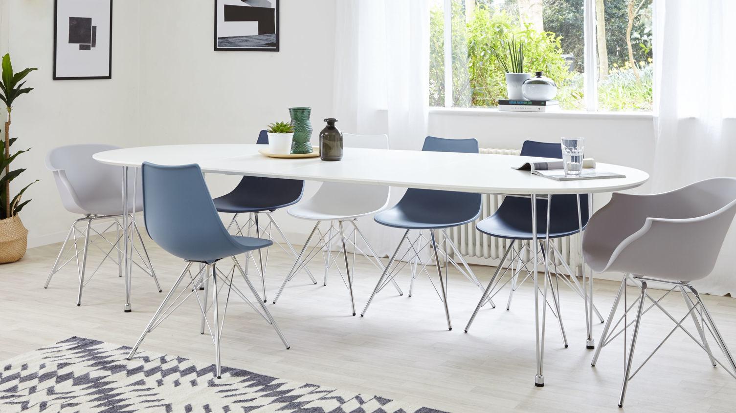 Ellie White Oval Extending Table fully extended