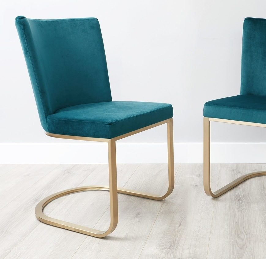 Form Velvet and Brass Cantilever Dining Chair in Teal