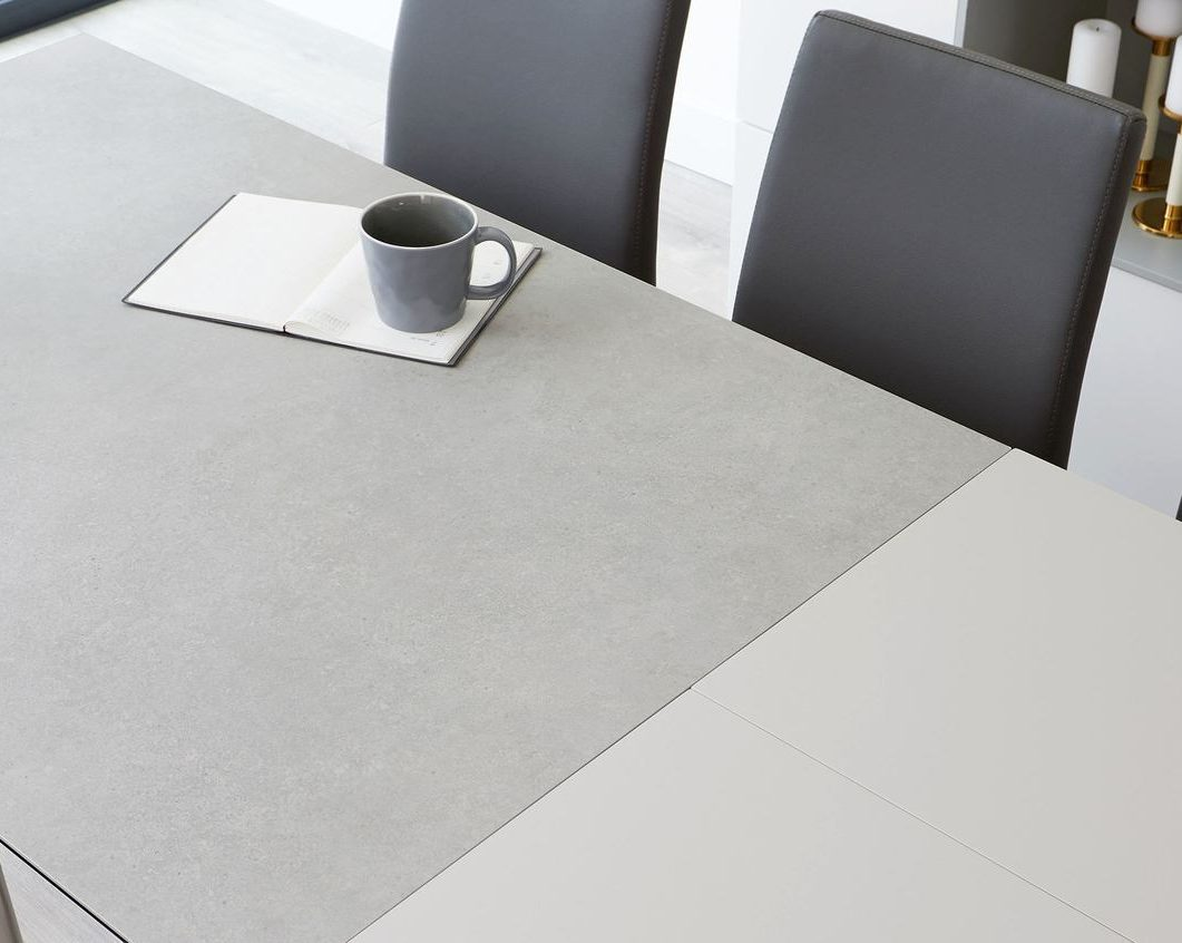 Louis Light Grey Ceramic Extending Dining Table