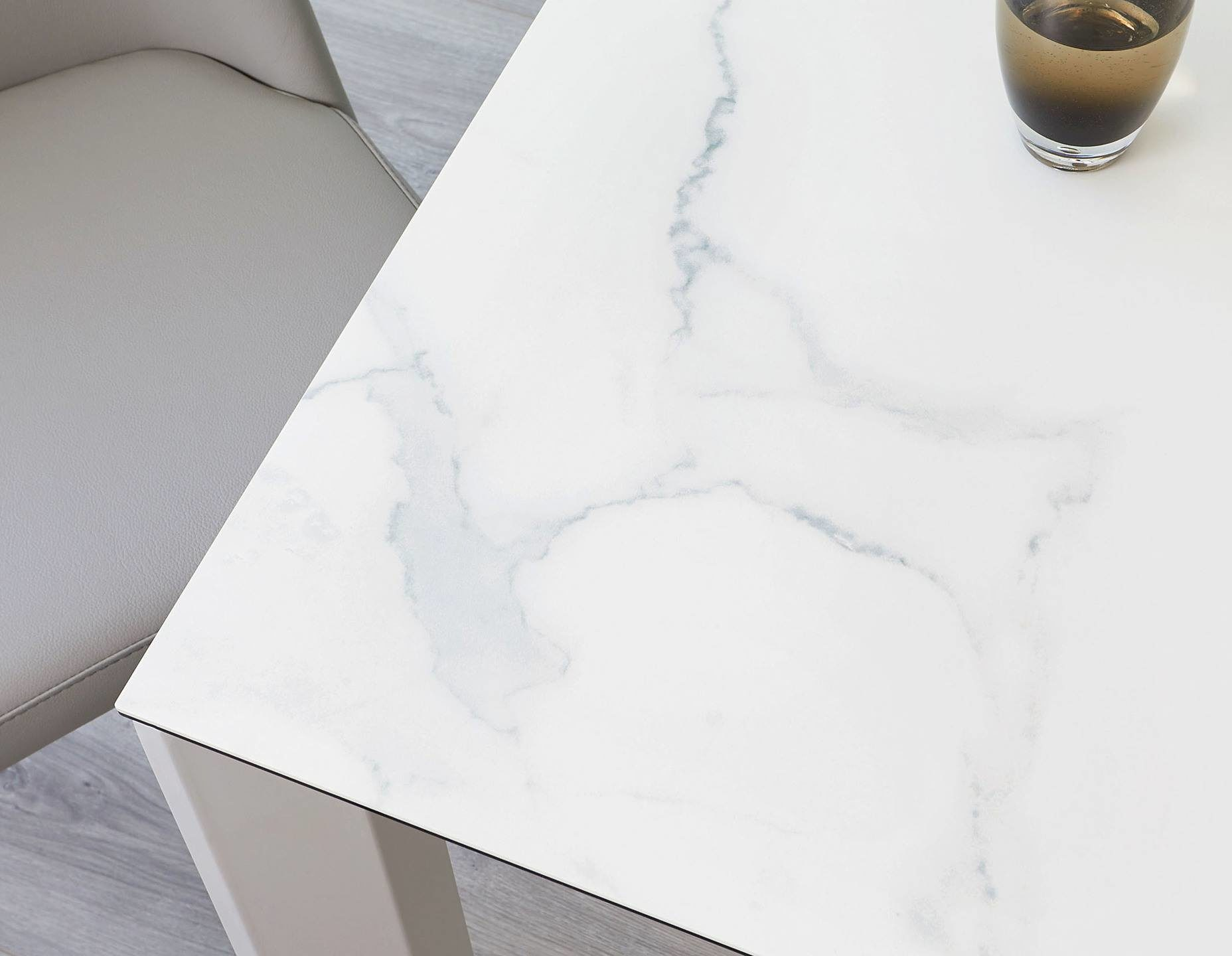 Louis Ceramic Marble and Light Grey Extending Dining Table