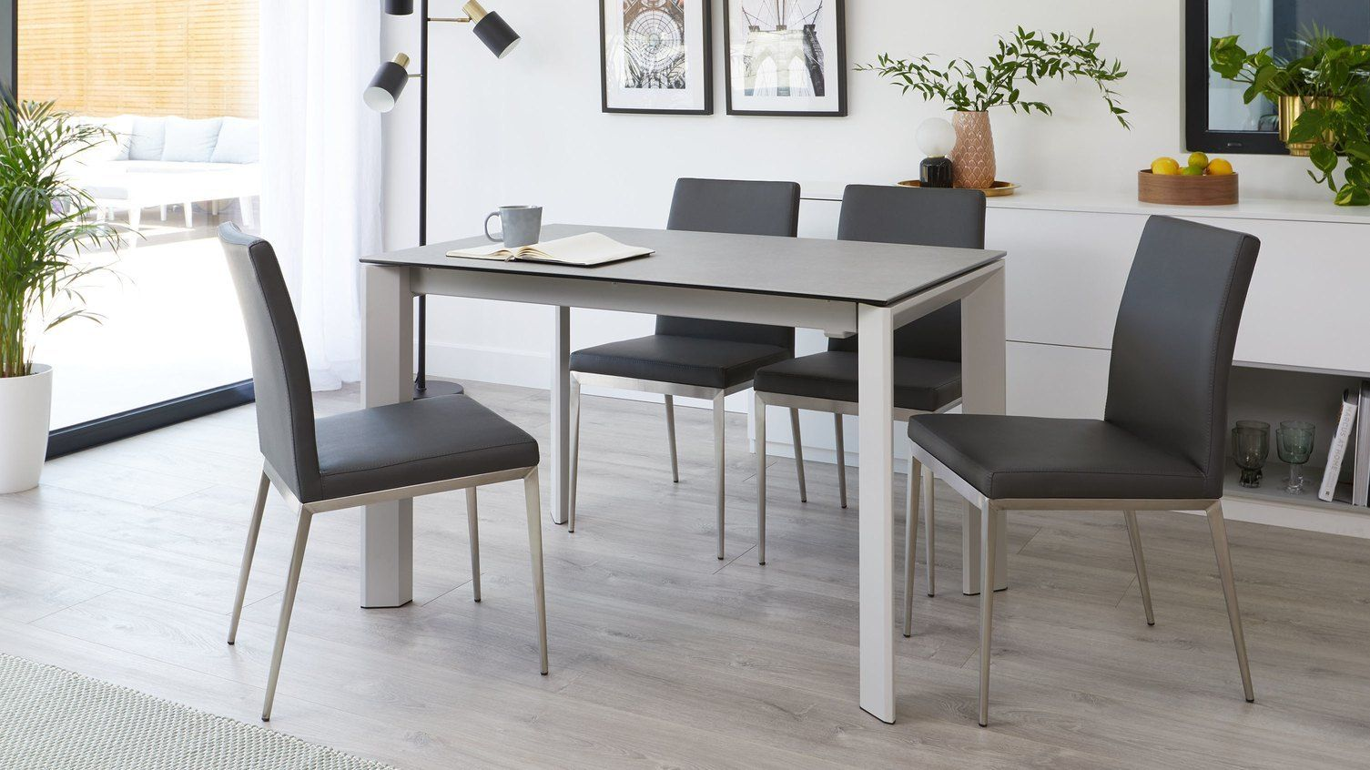 Louis Light Grey Ceramic Extending Dining Table - unextended