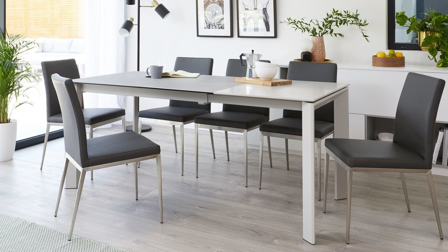 Louis Light Grey Ceramic Extending Dining Table - extended