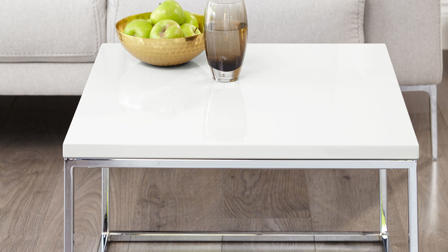 Acute White Gloss and Chrome Frame Square Coffee Table