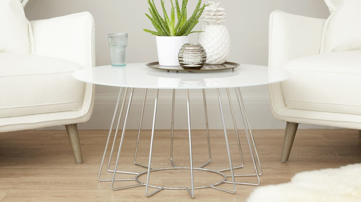 Orbit White Glass and Chrome Coffee table