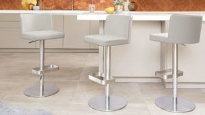 Arlo Real Leather Bar Stools in Cool Grey