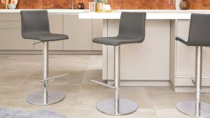 Kiki Real Leather Bar Stools in Putty Grey