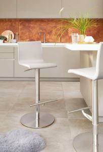 Kiki Real Leather Bar Stool in Cool Grey