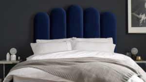 Bedroom styling: Rene bed in midnight blue velvet