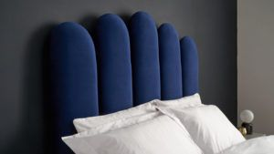 Rene bed in midnight blue velvet