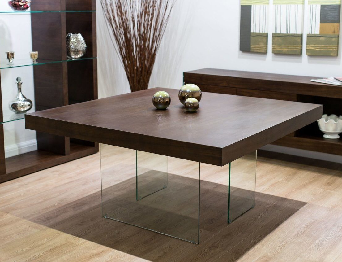 Aria Espresso Dark Wood and Glass Square Dining Table Danetti
