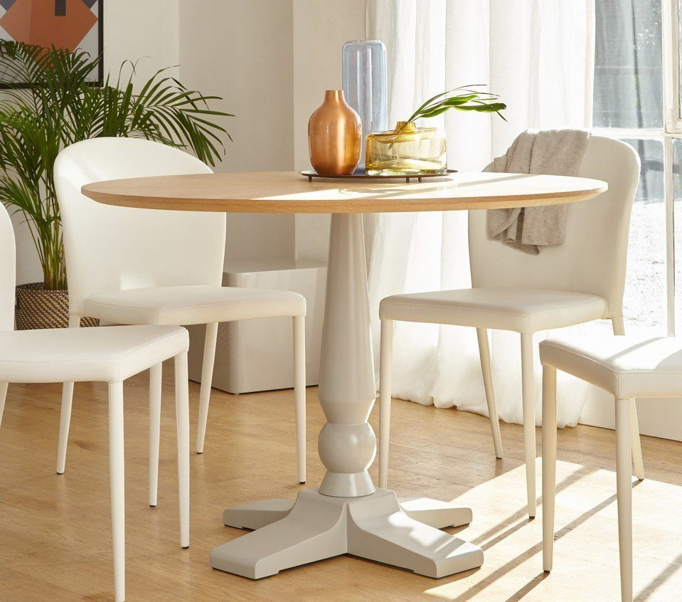Cleo 4 Seater Matt Grey Pedestal Dining Table