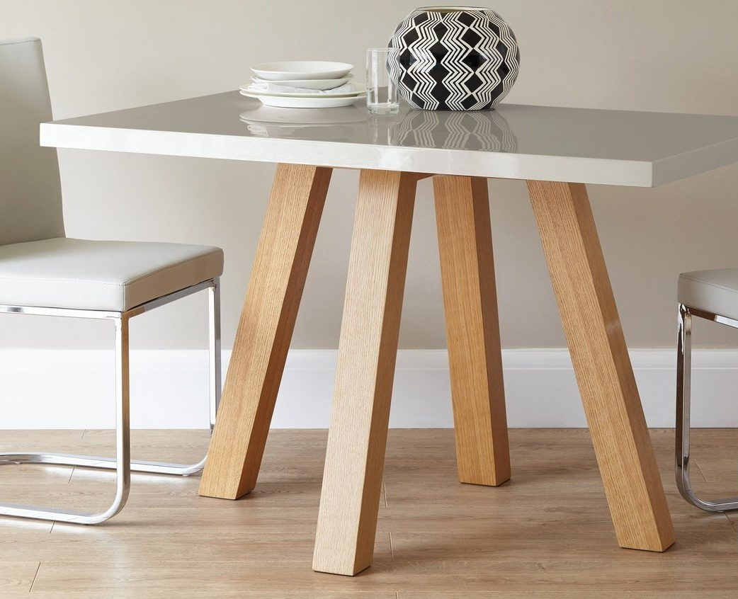Cross 4 Seater Grey Gloss and Oak Dining Table