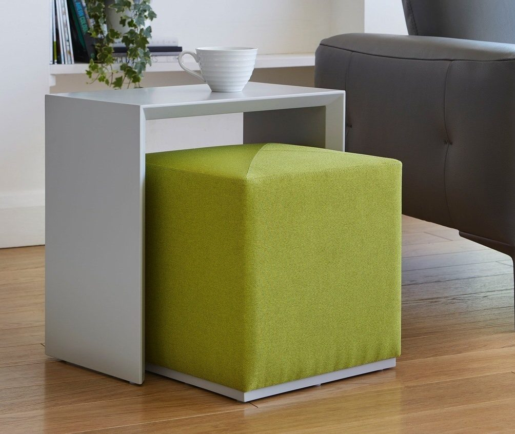 Duo Matt Grey Side Table and Lime Fabric Stool Set