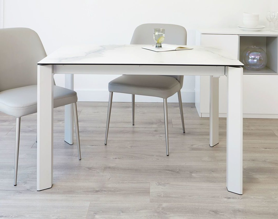 Louis Ceramic Marble and Light Grey Extending Dining Table Danetti